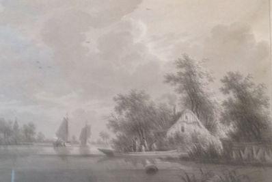 Kunstenaar Nicolaas Wicart A6336, Nicolaas Wicart gezicht op de IJssel Grisaille, beeldmaat, 34 x 46 cm verkocht