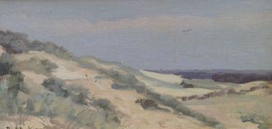 Schilderijen te koop van kunstschilder Paul Arntzenius Duinen aan de kust marouflé, olieverf, 20,5 x 40 cm linksonder gesigneerd, Expositie Galerie Wijdemeren Breukeleveen