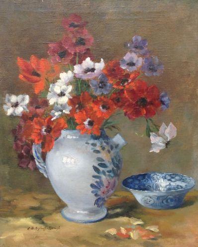Kunstenaar Johanna Bastiana Sijthoff - van Rijswijck A6525, Johanna Bastiana Sijthoff van Rijswijk stilleven met bloemen aardewerk kan olieverf op doek, 60 x 50 cm
