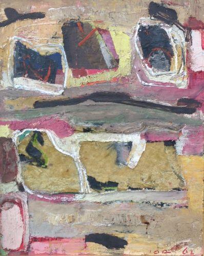 Kunstenaar Jan Gerrit Jordens A6637, Jan Gerrit Jordens compositie met stof r.o. gesigneerd particuliere collectie niet te koop