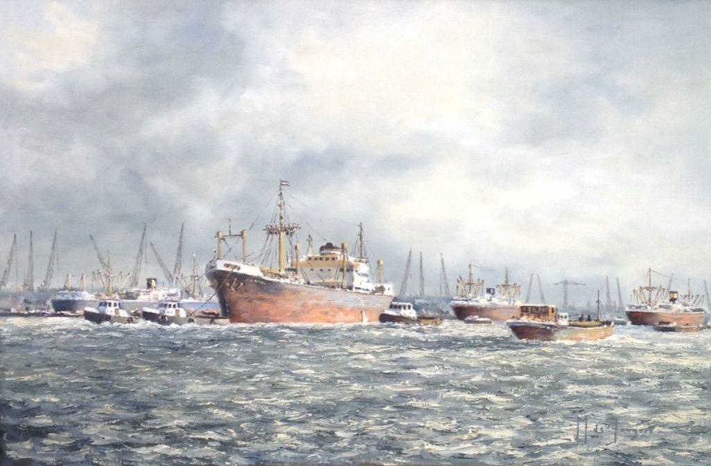 Schilderijen te koop van kunstschilder MJ de Jongere Havengezicht Rotterdam olie op doek, gesigneerd, Expositie Galerie Wijdemeren Breukeleveen
