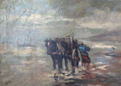 Kunstenaar Johannes van Eck A6715 Adrianus Johannes van Eck Kokkelvisser particuliere collectie