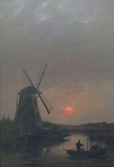 Kunstenaar Rein Miedema A6733, Rein Miedema Vissers in roeiboot bij maanlicht olie op doek, 57 x 40 cm   gereserveerd