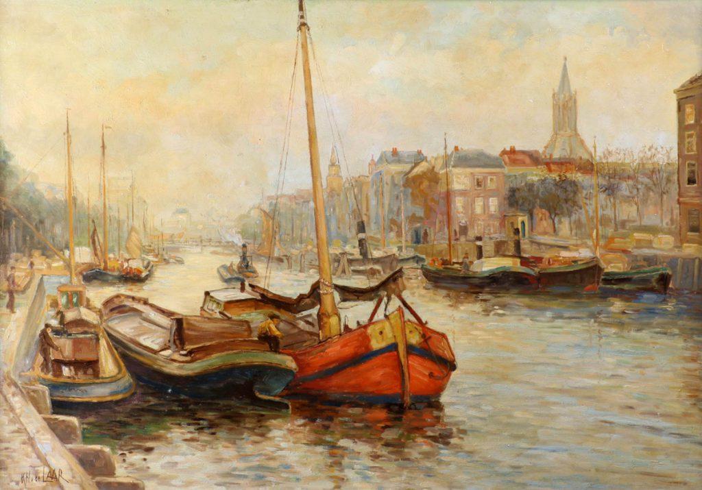 Kunstenaar K.H. van der Laar A6905, K.H. van der Laar 'Boten aan de kade van de Leuvehaven te Rotterdam, met op de achtergrond het