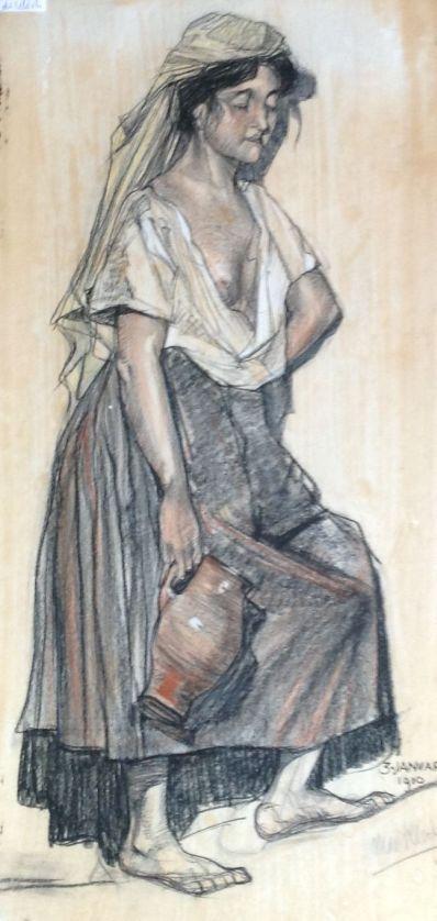 Kunstenaar Michel de Klerk A6977, Michel De Klerk krijt r.o. gesigneerd verkocht
