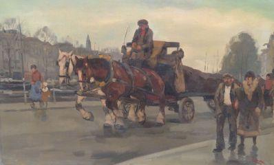 schilderijen te koop van kunstschilder, Cor Noltee Paard en wagen op dunbevolkte Amsterdamse gracht olie op doek, gesigneerd rechtsonder, expositie, galerie wijdemeren breukeleveen