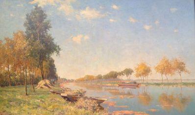 Kunstenaar Gerard Altmann A6991 Gerard Altmann Reeuwijk met bomen langs vaart en afgemeerde boten op een zonnige dag Olie op doek, beeldmaat: 75 x 122 cm Gesigneerd linksonder Verkocht