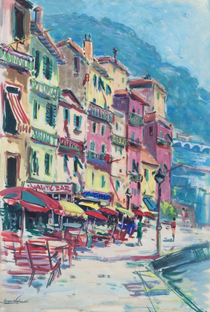 Kunst te koop bij Galerie Wijdemeren van kunstschilder Jaap Nefkens Mediterraans straatje gemengde techniek op papier, 55 x 38 cm linksonder gesigneerd