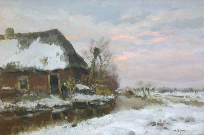 Schilderijen te koop van kunstschilder WGF Jansen Boerderij in winterslandschap olie op doek, gesigneerd, Expositie Galerie Wijdemeren Breukeleveen