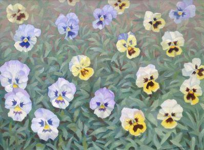 Schilderijen te koop van kunstschilder Dirk Smorenberg Viooltjes olie op doek, gesigneerd, Expositie Galerie Wijdemeren Breukeleveen