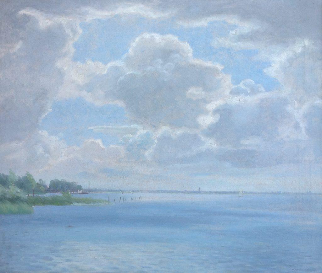 Schilderijen te koop van kunstschilder A7152 Dirk Smorenberg Plasgezicht Loosdrecht olie op doek, 60 x 70 cm r.o. gesigneerd, Expositie Galerie Wijdemeren Breukeleveen