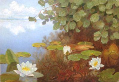Schilderijen te koop van kunstschilder Dirk Smorenberg Waterlelies, olie op doek, gesigneerd verkocht, Expositie Galerie Wijdemeren Breukeleveen