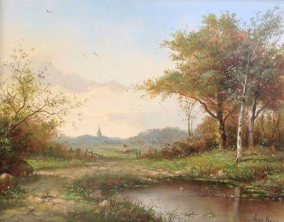 schilderijen te koop van kunstschilder, Nanne Baylon Romantisch Landschap met kerk op de achtergrond olie op doek, doekmaat 24 x 30 cm gesigneerd, expositie, galerie wijdemeren breukeleveen