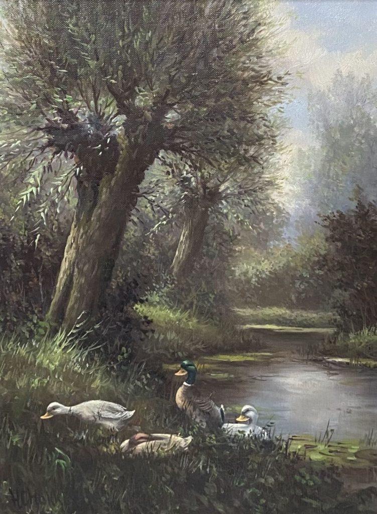 Kunst te koop bij Galerie Wijdemeren van kunstschilder H.C. Hokken Eendenfamilie aan de waterkant olie op doek, 40 x 30 cm linksonder gesigneerd