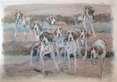 Kunstenaar Fritz Rudolf Hug A7190, Fritz Rudolf Hug Litho jachthonden verkocht