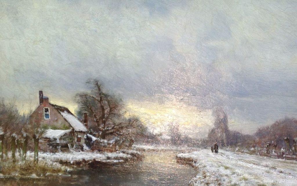 Kunstenaar Louis Apol A7289 L.F.H. Apol Winterlandschap Olie op paneel, 27,5 x 42 cm Verkocht
