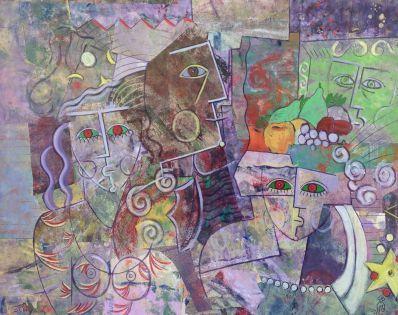Kunstenaar Ludo Huys A7293-2, Ludo Huys Abstract met gezichten gemengde techniek op board, 77, x 97,5 cm verkocht