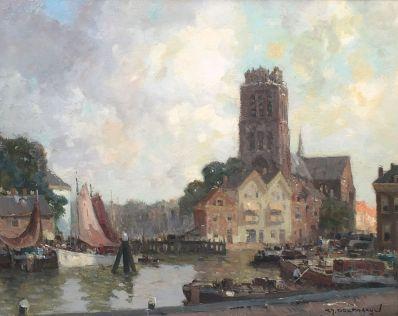Schilderijen te koop van kunstschilder G.J. Delfgaauw Gezicht op Dordrecht olie op doek, rechtsonder gesigneerd, Expositie Galerie Wijdemeren Breukeleveen