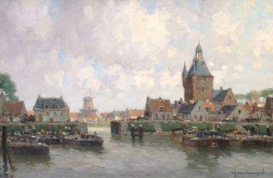 Schilderijen te koop van kunstschilder G.J. Delfgaauw Gezicht op Enkhuizen olie op doek, gesigneerd rechtsonder, Expositie Galerie Wijdemeren Breukeleveen