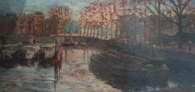 Kunstenaar Lucien den Arend A7358 Lucien den Arend boten afgemeerd in gracht te Amsterdam Olieverf op doek, 40 x 80 cm linksonder gesigneerd en gedateerd 1963 verkocht