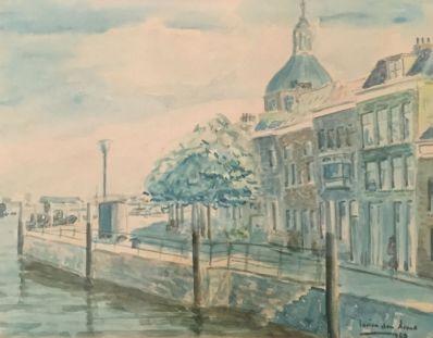Kunstenaar Lucien den Arend A7360 Lucien den Arend stadsgezicht verkocht