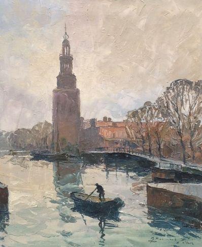 Kunstenaar Giele Roelofs A7366, Giele Roelofs Westertoren Amsterdam olieverf