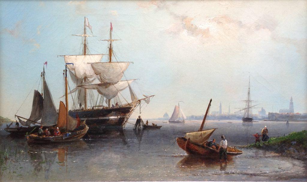 Schilderijen te koop van kunstschilder Nicolaas Riegen Gezicht op het IJ olie op doek 33 x 48 cm gedateerd 1881, Expositie Galerie Wijdemeren Breukeleveen