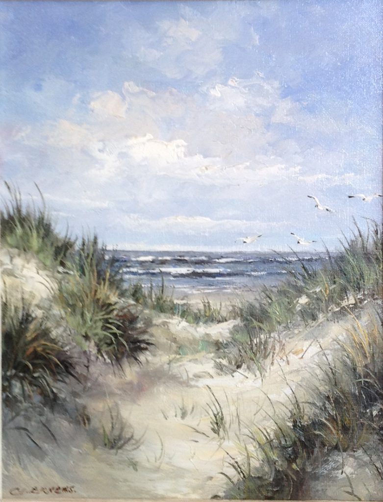 Schilderijen te koop van kunstschilder G.J. Ernens Strandgezicht olie op doek, gesigneerd, Expositie Galerie Wijdemeren Breukeleveen