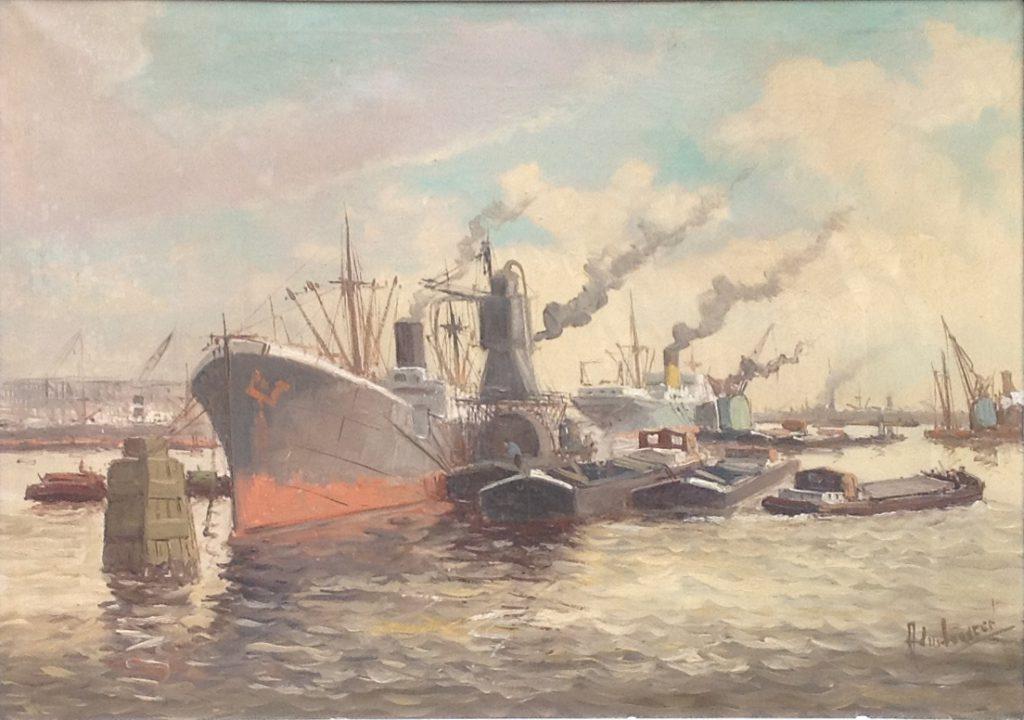Kunstenaar Adri Verveen A7578, Adri Verveen Rotterdamse Haven olie op doek, verkocht