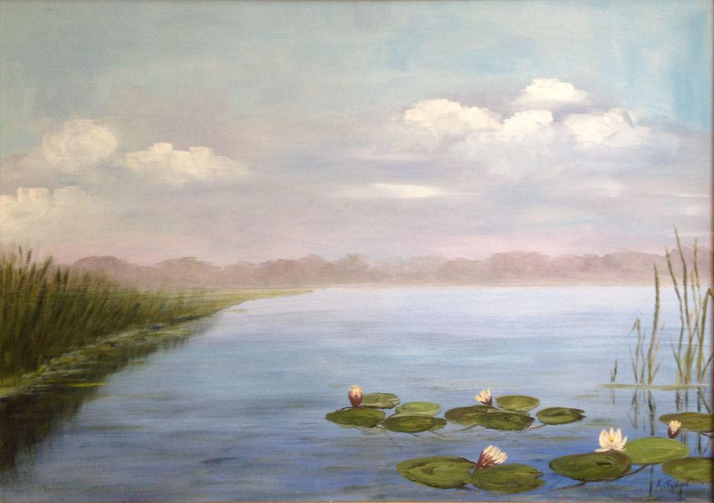Kunstenaar Andre Tellier A7638 Andre Tellier Waterlelies Loosdrecht olie op doek, 67 cm x 48 cm gesigneerd