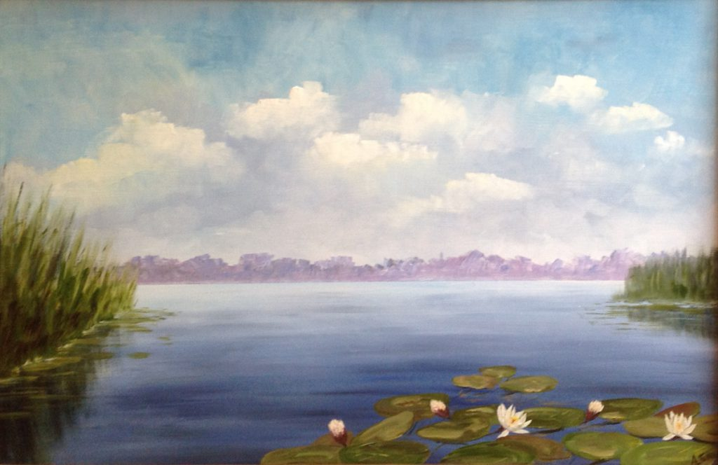 Kunstenaar Andre Tellier A7639 Andre Tellier Waterlelies Loosdrecht olie op paneel, 67 cm x 45 cm gesigneerd