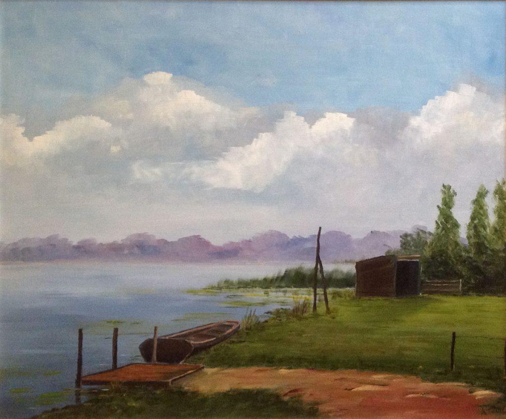 Kunstenaar Andre Tellier A7640 Andre Tellier Kortenhoefs polderlandschap olie op doek 56 x 44 cm gesigneerd