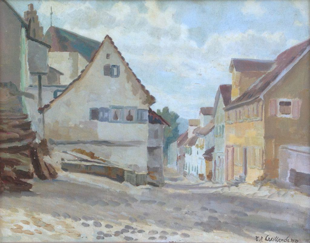 schilderijen te koop van kunstschilder, K.J. Willerding straatje in Bretagne olie op doek, doekmaat 40 x 50 cm rechtsonder gesigneerd, expositie, galerie wijdemeren breukeleveen