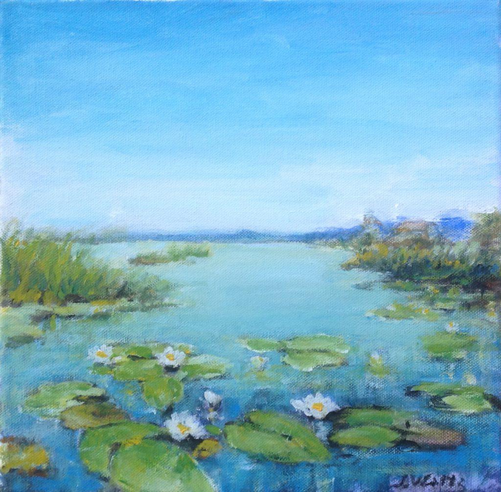 Kunst te koop bij Galerie Wijdemeren van kunstschilder Max Waitz Plasgezicht met waterlelies acryl op doek, 30 x 30 cm