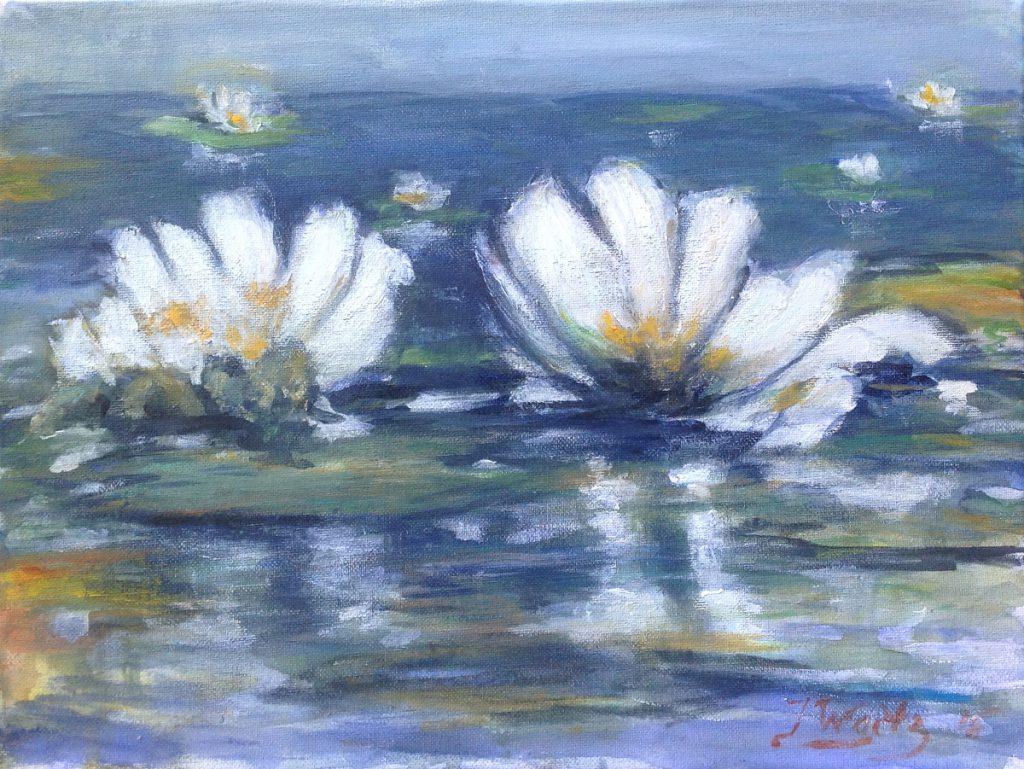 Kunst te koop bij Galerie Wijdemeren van kunstschilder Max Waitz Waterlelies acryl op doek, 30 x 40 cm
