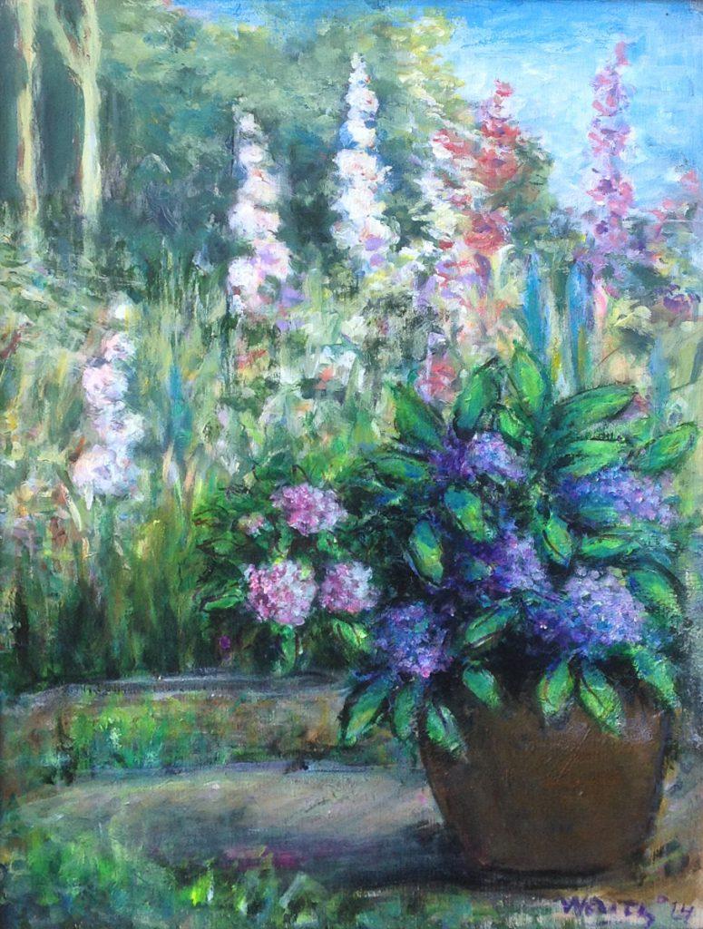 Kunst te koop bij galerie Wijdemeren van Max Waitz Mijn bloementuin olie op doek, 34.5 x 48 cm
