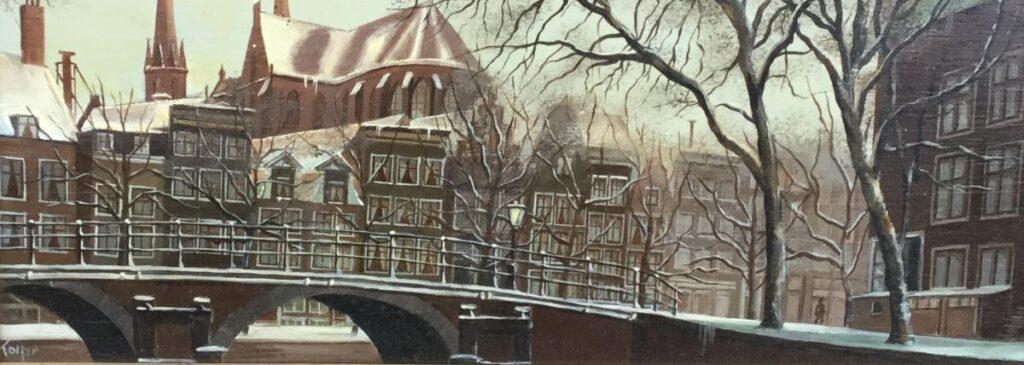 Kunstenaar Lois Kapr A7667, Lois Kapr Heerengracht Amsterdam in de winter olie op paneel, 12 x 30 cm linksonder gesigneerd en gedateerd 1916