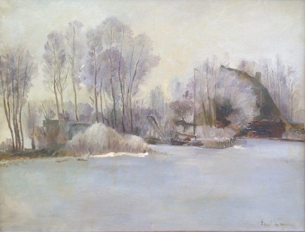 Kunstenaar Ernst Leyden A7728, Ernst Leyden Winter te Loosdrecht olie op doek r.o. gesigneerd