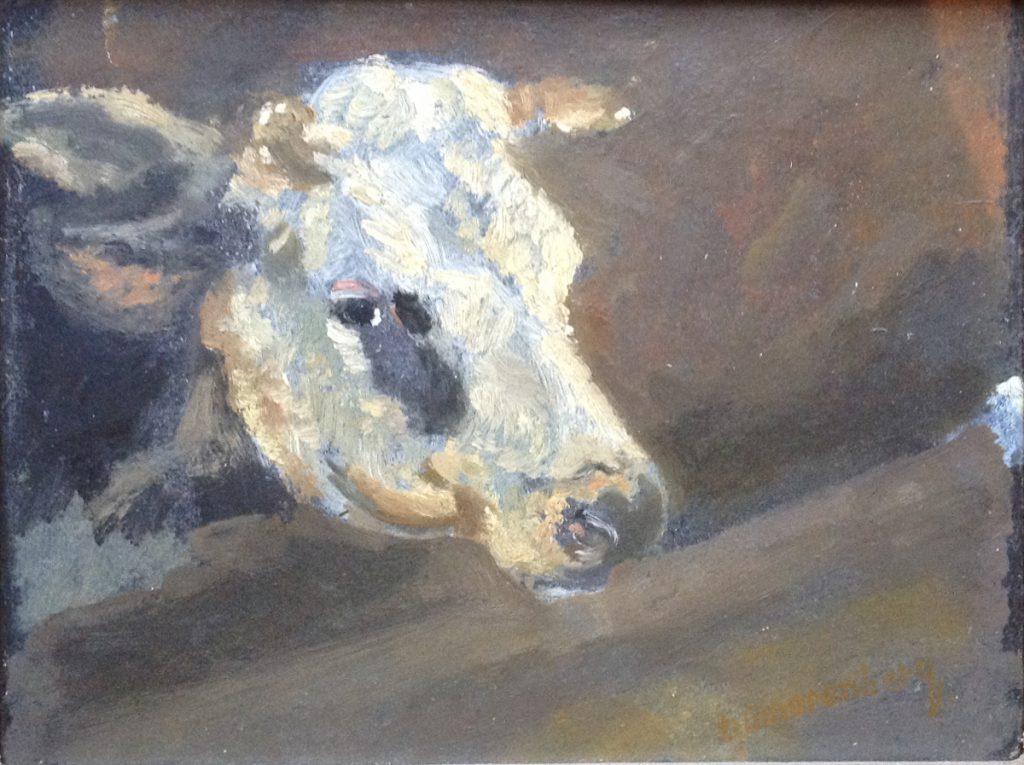 Schilderijen te koop van kunstschilder Dirk Smorenberg Portret van Koeienkop olie op paneel, dubbelzijdig beschilderd, Expositie Galerie Wijdemeren Breukeleveen
