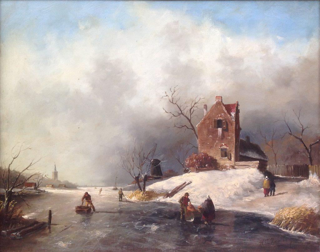 Kunstenaar Zaalberg, H A7804, H.C. Zaalberg Winter, 40 x 50 cm olie op paneel Verkocht