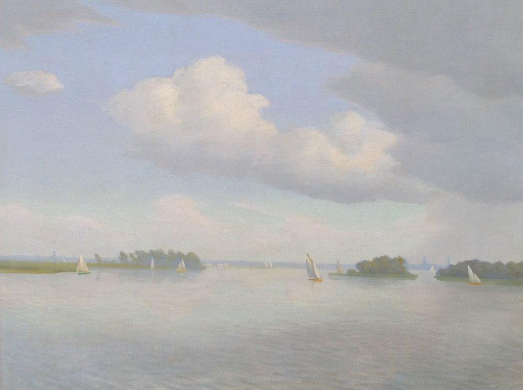 Schilderijen te koop van kunstschilder Dirk Smorenberg Zeilbootjes op de Loosdrechtse plassen olie op doek, 50 x 60 cm, gesigneerd, Expositie Galerie Wijdemeren Breukeleveen