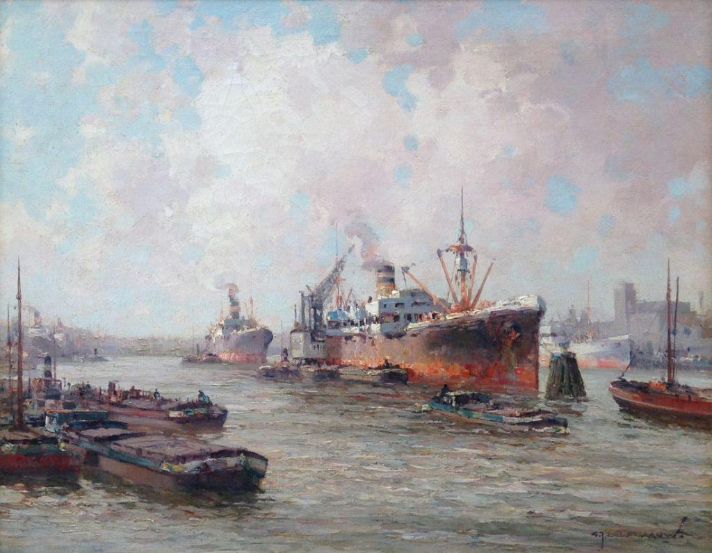 Schilderijen te koop van kunstschilder G.J. Delfgaauw Boten in de Rotterdamse haven olie op doek, gesigneerd, Expositie Galerie Wijdemeren Breukeleveen