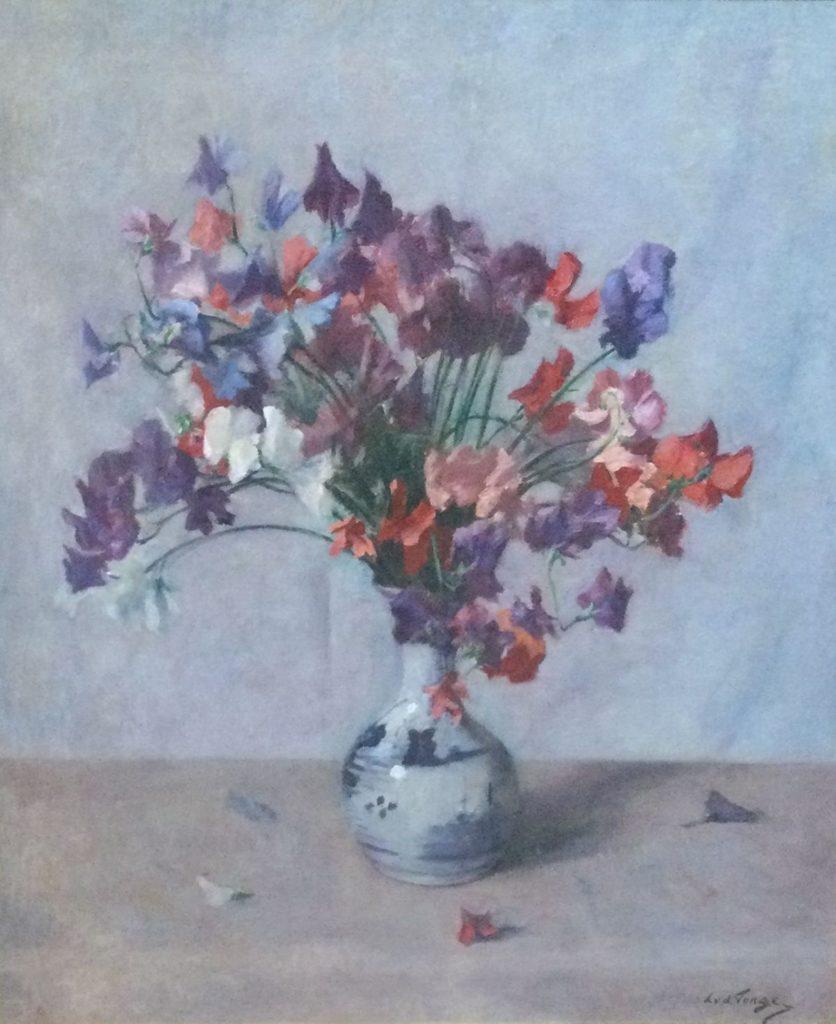 schilderijen te koop van kunstschilder, Lammert L. van der Tonge Bloemstilleven olie op doek, doekmaat 71.5 x 61 cm rechtsonder gesigneerd, expositie, galerie wijdemeren breukeleveen