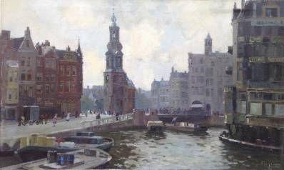 Kunstenaar Herman Adrianus Charles (Herman jr.) Bogman A78888, H.A.C. Bogman Gezicht op het Rokin te Amsterdam Den Haag - Holland Olie op doek, 60 x 100 cm verkocht