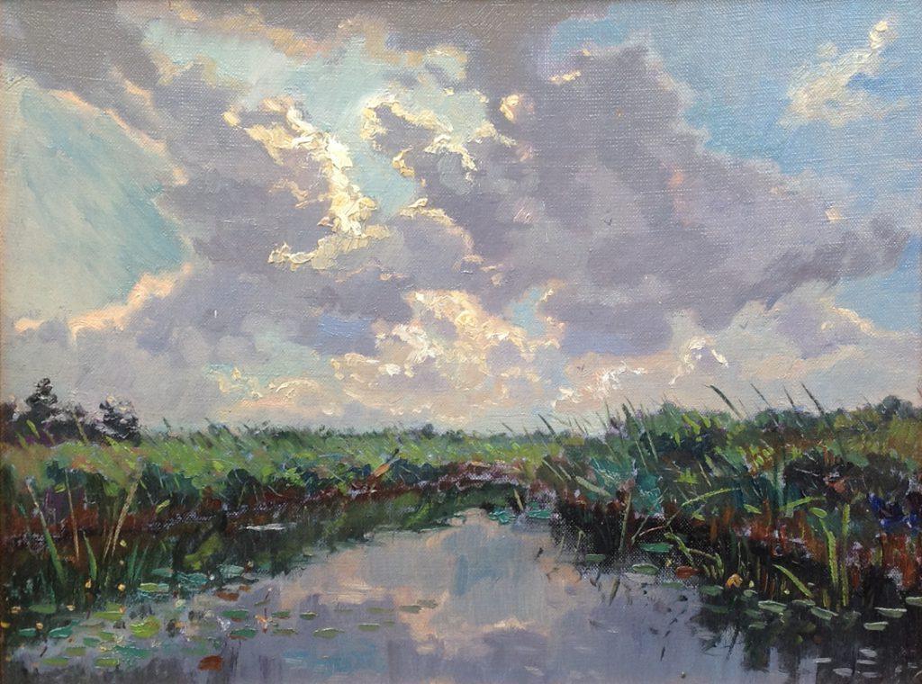 Kunstenaar Piet Hanja A7933 Piet Hanja brede sloot olie op paneel, 30 x 40 cm ongesigneerd verkocht