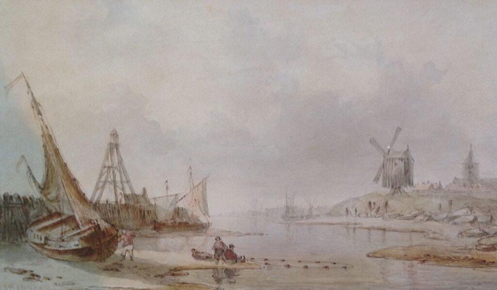 Kunstenaar Christiaan L. W. Dreibholtz nr. A7934-2, C.L.W. Dreibholtz  Het binnen halen van de netten  aquareltekening, 19 x 29 cm
