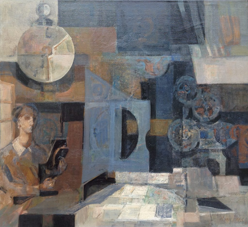 Kunstenaar Wim van Aken A7936 Wim van aken Interieur, olie op doek gesigneerd verkocht