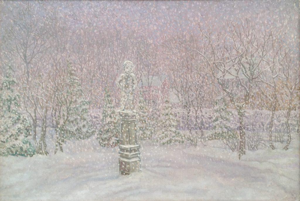 Kunstenaar Jacob Nieweg A8019 Jacob Nieweg Sculptuur in achtertuin van Nieweg met dwarrelende sneeuwvlokjes olie op doek, 29 x 44 cm gemonogrammeerd engedateerd 1944 verkocht