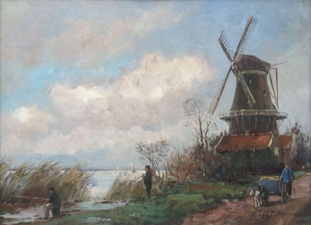 Kunstenaar J.H. Polderman A8021, J.H. Polderman Molen en hondenkar olieverf verkocht