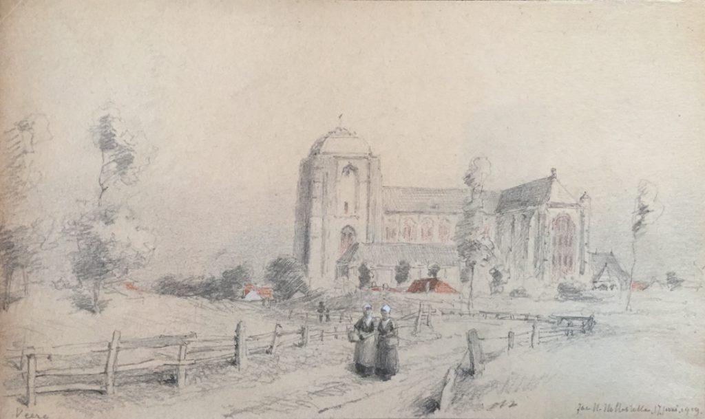 Kunstenaar Jacob Huijbrecht Hollestelle A8022 JH Hollestel Gezicht op grote kerk van Veere tekening r.o. gesigneerd en gedateerd 11 juli 1919